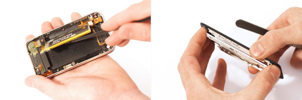 Décollage de la batterie et séparation du bloc vitre tactile du LCD d'un iPhone 3G / 3GS