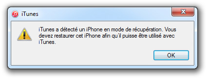 iPhone en mode récupération