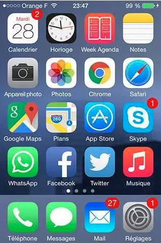 ecran accueil iphone