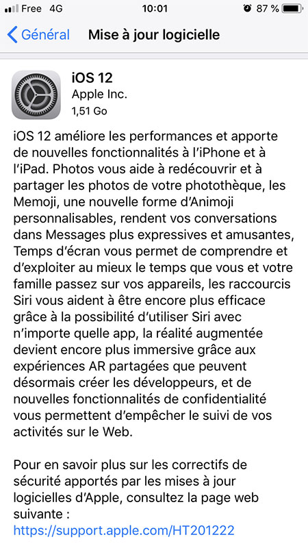 Installation iOS 12