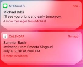 regroupement notification ios 12