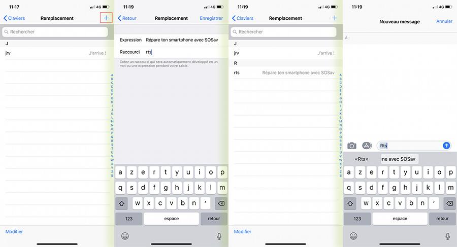 ajouter raccourcis clavier iPhone