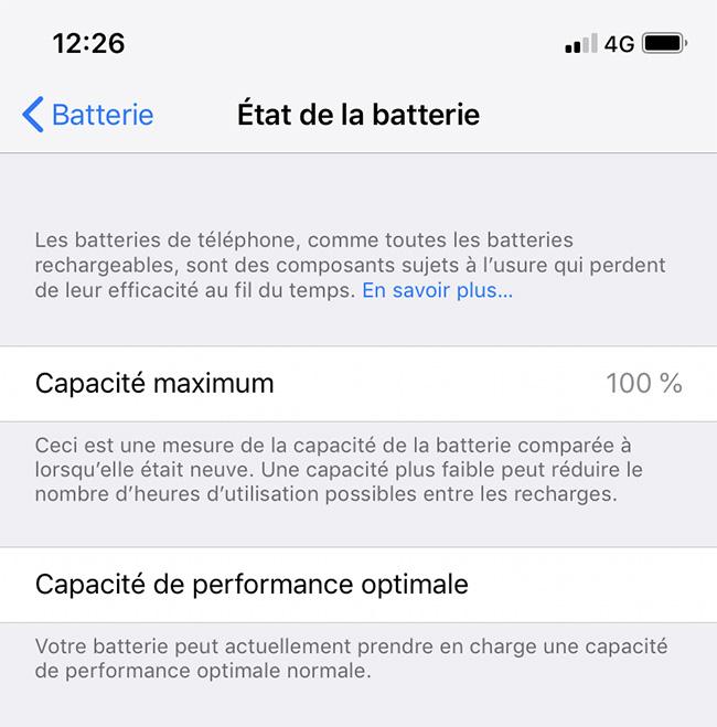 Etat batterie iOS 12
