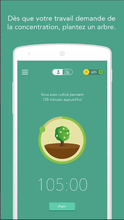 Application Forest : Rester Concentré