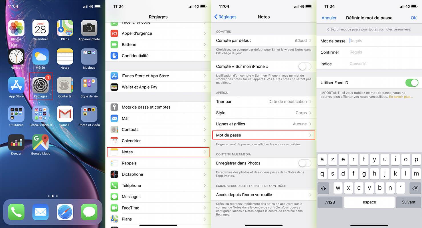 Ajouter mot de passe Notes iOS 12