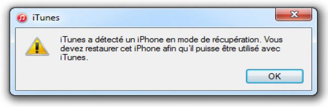 Mode récupération iPhone sur iTunes