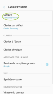 changer langue android