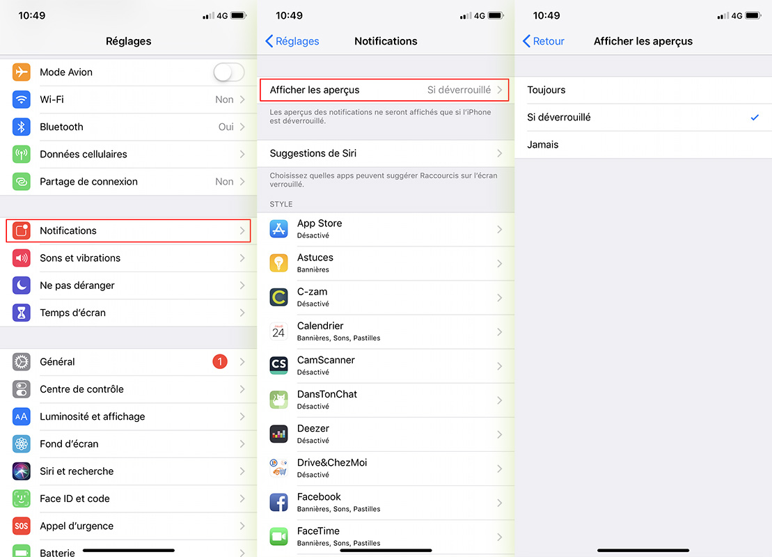 Configurer notifications iPhone
