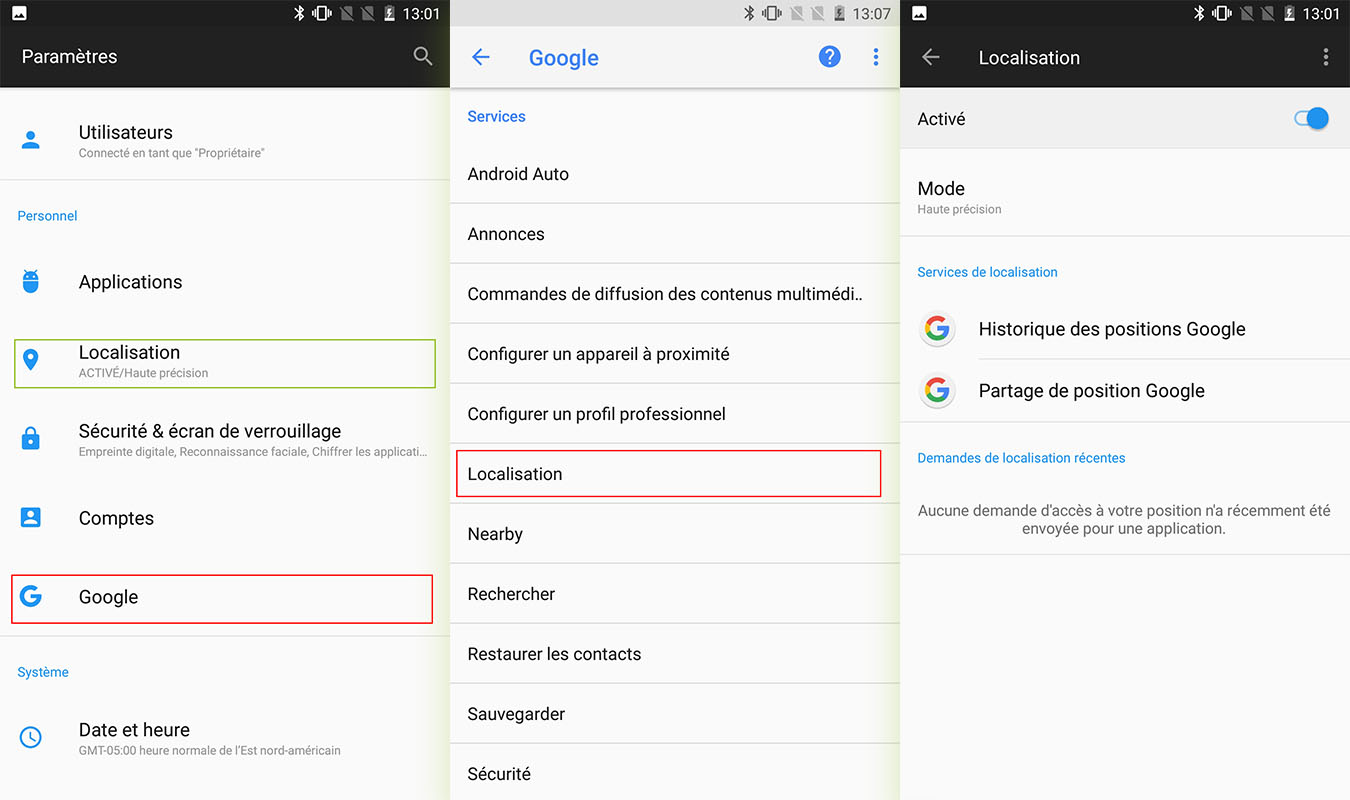 localisation smartphone android