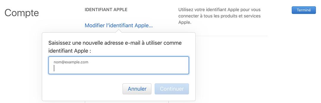 modification identifiant apple