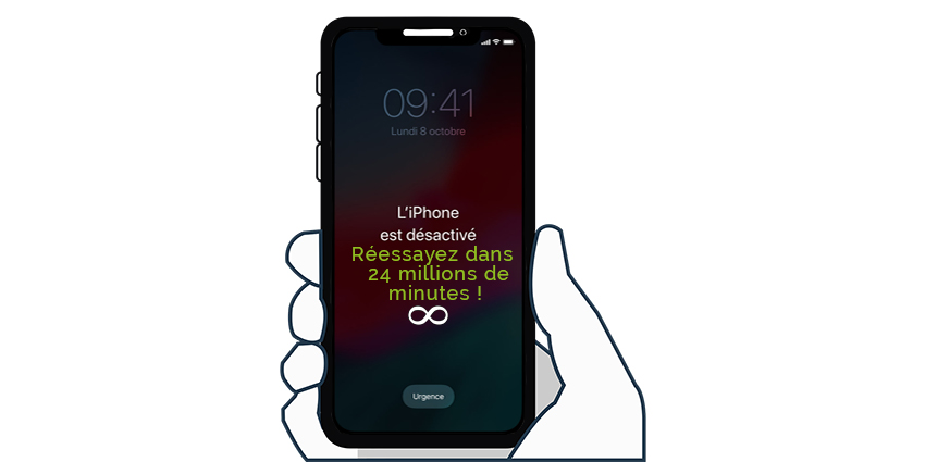 iPhone désactivé, réessayez dans 24 millions de minutes
