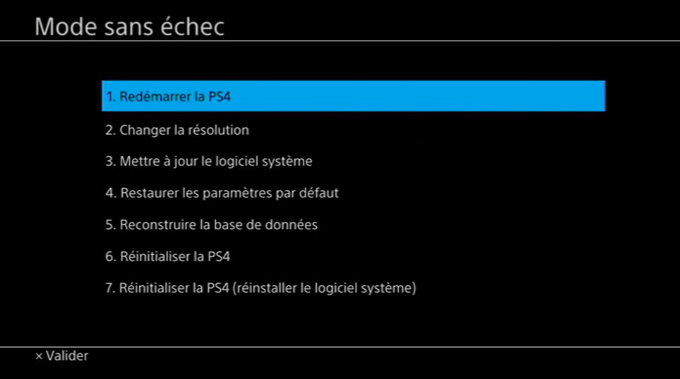 Mode sans échec PS4