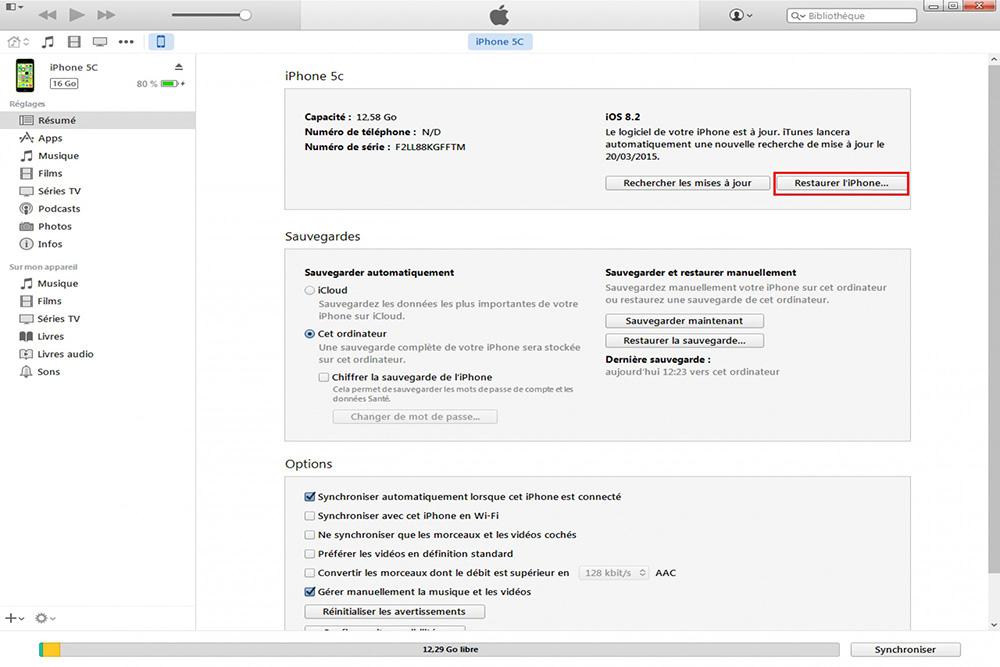 Restauration iPhone via iTunes