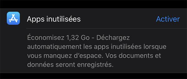 App inutilisées sur iPhone