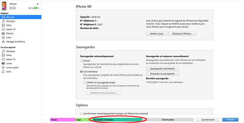 Documents et données sur iTunes