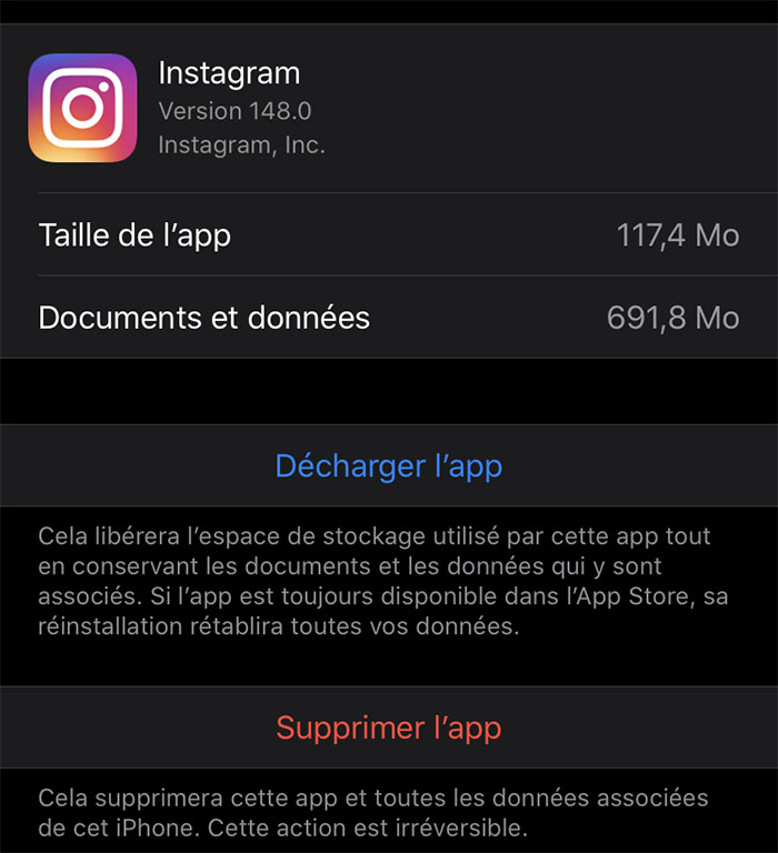 Documents et Données Instagram sur iPhone